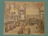 Color Drawing by Helga Wolfenstein of Kitchen Worker in Theresienstadt