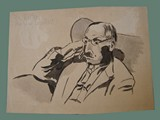 Drawing by Helga Wolfenstein of   Dr. Reiter, Dermatologist at Theresienstadt