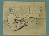 Drawing by Helga Wolfenstein of Peter Kien / Petr Kien Painting at Theresienstadt