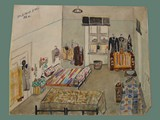 Watercolor Painting by Helga Wolfenstein of Beds at Theresienstadt