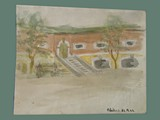 Watercolor Painting by Helga Wolfenstein of Bakery at Theresienstadt