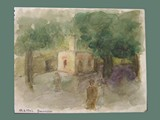 Watercolor Painting by Helga Wolfenstein of Theresienstadt