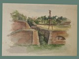 Watercolor Painting by Helga Wolfenstein of Fortifications at Theresienstadt