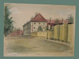 Watercolor Painting by Helga Wolfenstein of Hohenelber Hospital Nurses Room at Theresienstadt