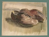 Watercolor Painting by Helga Wolfenstein of Shoes at Theresienstadt