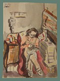 Watercolor Painting by Helga Wolfenstein of a Stylish Woman Sitting  at Theresienstadt