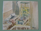 Watercolor Painting by Helga Wolfenstein of Babies in Cribs at Theresienstadt