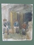 Watercolor Painting by Helga Wolfenstein of Women's Latrine at Theresienstadt