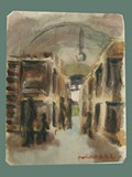 Watercolor Painting by Helga Wolfenstein of Bunks at Theresienstadt