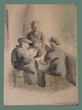 Watercolor Painting by Helga Wolfenstein of Card Players at Theresienstadt