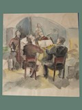 Watercolor Painting by Helga Wolfenstein of a Quartet at Theresienstadt