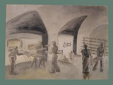 Watercolor Painting by Helga Wolfenstein of Food Bakers at Theresienstadt