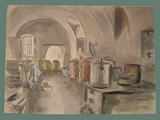 Watercolor Painting by Helga Wolfenstein of the Kitchen at Theresienstadt