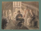Watercolor Painting by Helga Wolfenstein of Potato Peelers at Theresienstadt