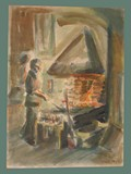 Watercolor Painting by Helga Wolfenstein of the Blacksmith at Theresienstadt