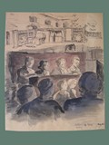 Watercolor Painting by Helga Wolfenstein of Audience at Lessing's 'Nathan der Weise' at Theresienstadt