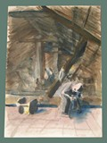 Watercolor Painting by Helga Wolfenstein of a Solitary Figure Under the Rafters at Theresienstadt