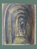 Watercolor Painting by Helga Wolfenstein of an Arched Hallway at Theresienstadt