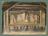 Watercolor Painting by Helga Wolfenstein of the Theater at Theresienstadt