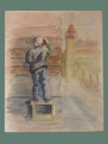 Watercolor Painting by Helga Wolfenstein of Boy on a Box at Theresienstadt