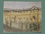 Watercolor Painting by Helga Wolfenstein of the Courtyard at Theresienstadt