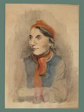 Watercolor Painting by Helga Wolfenstein of Her Aunt Julia 'Ully' Bondi Fleischerová at Theresienstadt