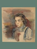 Watercolor Painting by Helga Wolfenstein of Marianne 'Mariedl' Mandel-Fischel at Theresienstadt