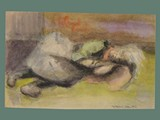 Watercolor Painting by Helga Wolfenstein of Female Resting at Theresienstadt