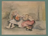 Watercolor Painting by Helga Wolfenstein of Females Resting at Theresienstadt