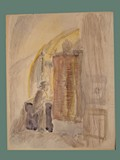 Watercolor Painting by Helga Wolfenstein of a Jewish Male at Theresienstadt