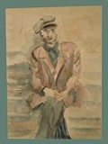 Watercolor Painting by Helga Wolfenstein of a Psychiatric Ward Male Sitting at Theresienstadt