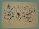 Drawing by Peter Kien / Petr Kien of People Getting Food at Theresienstadt