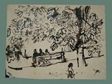 Drawing by Peter Kien / Petr Kien of People Sharing a Bench Under a Tree at Theresienstadt