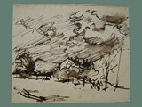 Drawing by Peter Kien / Petr Kien of a Landscape with a Dramatic Sky at Theresienstadt