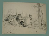 Drawing by Peter Kien / Petr Kien of a Tunnel at Theresienstadt