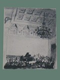 Drawing by Peter Kien / Petr Kien of a Piano Recital at Theresienstadt
