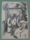 Drawing by Otto Ungar of a Weary Couple at Theresienstadt