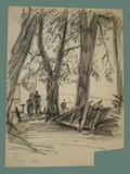 Drawing by Peter Kien / Petr Kien of People Walking Beneath Trees at Theresienstadt