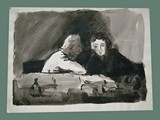 Watercolor Painting by Peter Kien / Petr Kien of a Couple at Theresienstadt