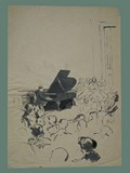 Watercolor Painting by Peter Kien / Petr Kien of a Piano Recital at Theresienstadt