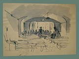 Watercolor Painting by Peter Kien / Petr Kien of the Theater at Theresienstadt -- Front
