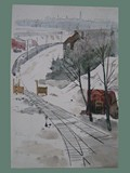 Watercolor Painting by Jospier / Jo Spier of Winter Railroad Tracks at Theresienstadt